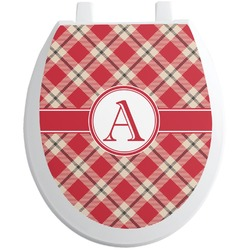 Red & Tan Plaid Toilet Seat Decal - Round (Personalized)
