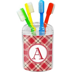 Red & Tan Plaid Toothbrush Holder (Personalized)