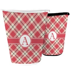 Red & Tan Plaid Waste Basket (Personalized)