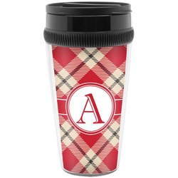 Red & Tan Plaid Travel Mug (Personalized)