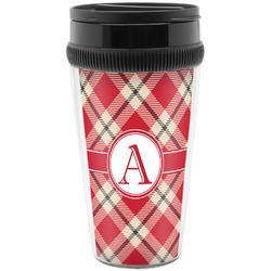 Red & Tan Plaid Travel Mug (Personalized)