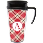 Red & Tan Plaid Travel Mug with Handle (Personalized)