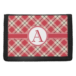 Red & Tan Plaid Trifold Wallet (Personalized)