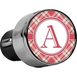 Red & Tan Plaid USB Car Charger (Personalized)
