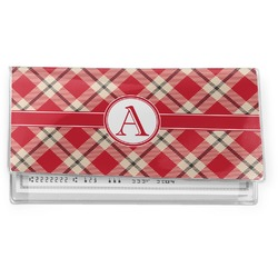 Red & Tan Plaid Vinyl Checkbook Cover (Personalized)