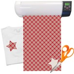 Red & Tan Plaid Heat Transfer Vinyl Sheet (12