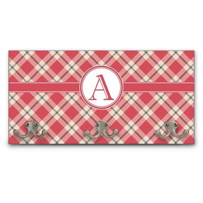 Red & Tan Plaid Wall Mounted Coat Rack (Personalized)