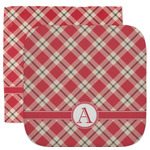 Red & Tan Plaid Facecloth / Wash Cloth (Personalized)