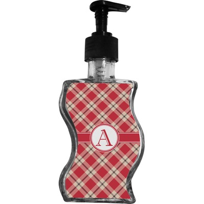Red & Tan Plaid Wave Bottle Soap / Lotion Dispenser (Personalized)