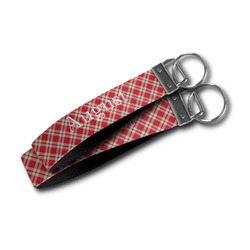Red & Tan Plaid Wristlet Webbing Keychain Fob (Personalized)