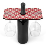 Red & Tan Plaid Wine Bottle & Glass Holder (Personalized)