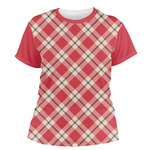 Red & Tan Plaid Women's Crew T-Shirt (Personalized)