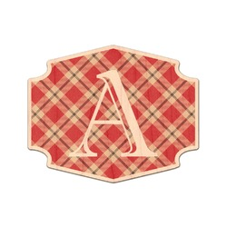 Red & Tan Plaid Genuine Wood Sticker (Personalized)