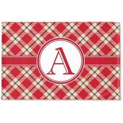 Red & Tan Plaid Woven Mat (Personalized)