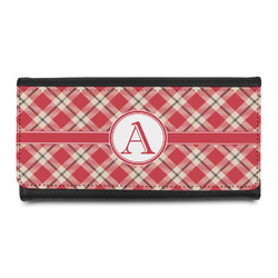 Red & Tan Plaid Leatherette Ladies Wallet (Personalized)