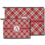 Red & Tan Plaid Zipper Pouch (Personalized)