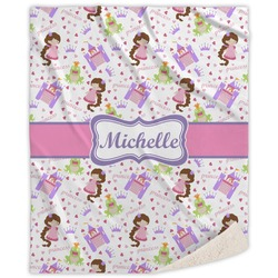 Princess Print Sherpa Throw Blanket (Personalized)