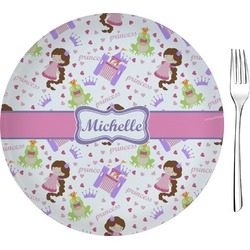 "Princess Print 8"" Glass Appetizer / Dessert Plates - Single or Set (Personalized)"