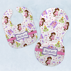 Princess Print Baby Bib & Burp Set w/ Name or Text