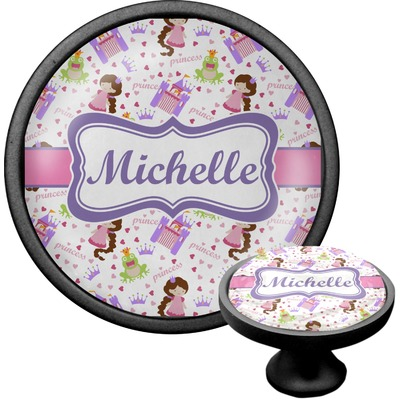 Princess Print Cabinet Knob (Black) (Personalized)