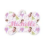 Princess Print Bone Shaped Dog Tag (Personalized)