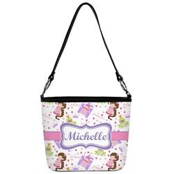 Princess Print Bucket Bag w/ Genuine Leather Trim (Personalized)