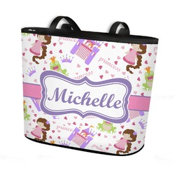 Princess Print Bucket Tote w/ Genuine Leather Trim (Personalized)
