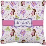 Princess Print Faux-Linen Throw Pillow (Personalized)