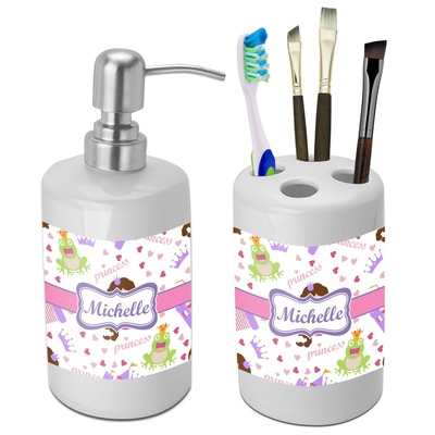 Princess Print Bathroom Accessories Set (Ceramic) (Personalized)