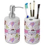 Princess Print Bathroom Accessories Set (Ceramic) (Personalized)