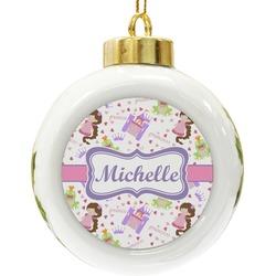 Princess Print Ceramic Ball Ornament (Personalized)