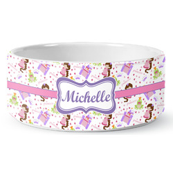 Princess Print Ceramic Dog Bowl (Personalized)