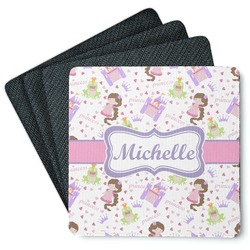 Princess Print 4 Square Coasters - Rubber Backed (Personalized)
