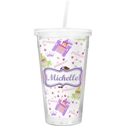 Princess Print Double Wall Tumbler with Straw (Personalized)