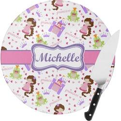 Princess Print Round Glass Cutting Board (Personalized)