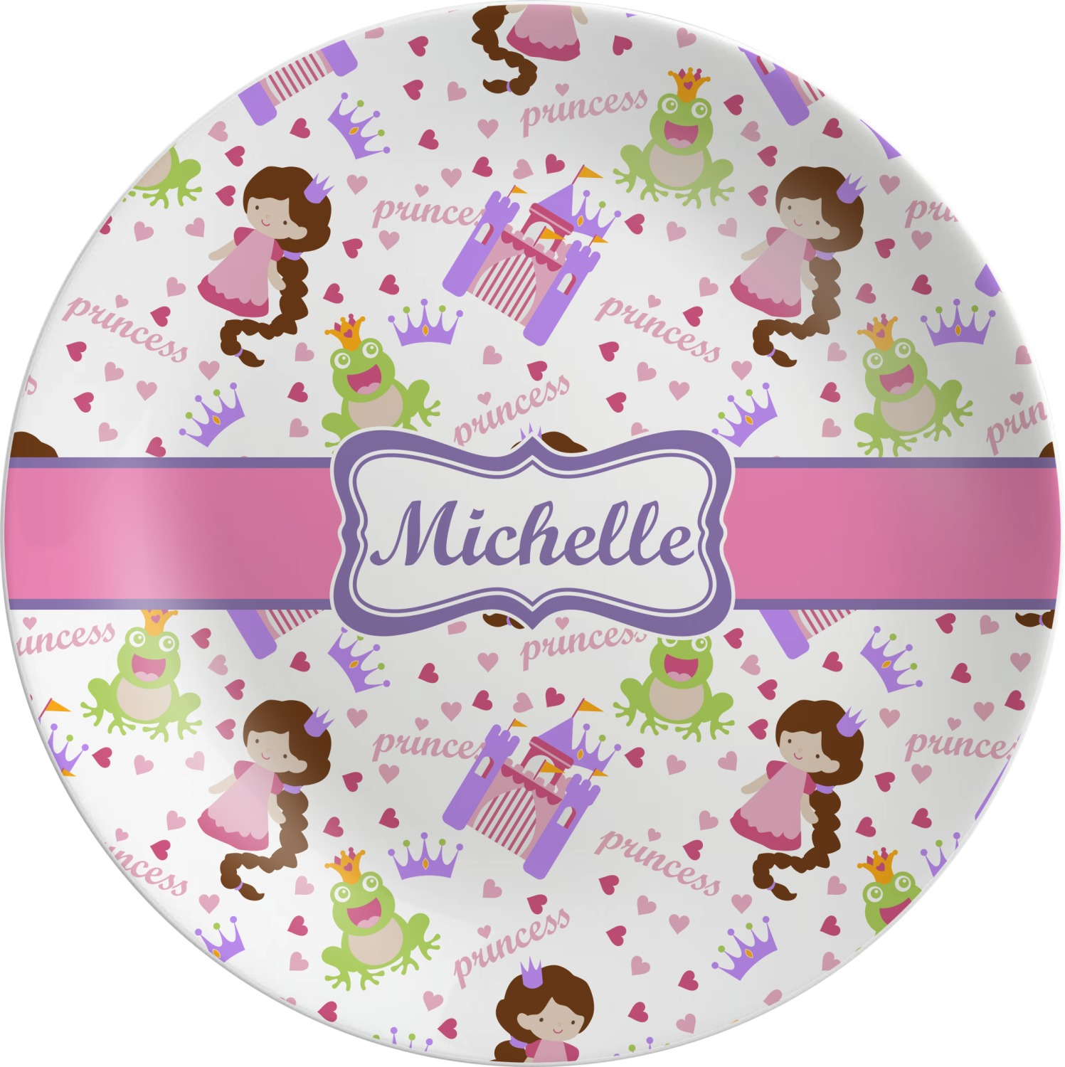Princess Print Dinner Set - 4 Pc (Personalized) Princess Print Melamine Plate ...  sc 1 st  YouCustomizeIt : personalized toddler plate sets - pezcame.com