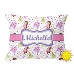Princess Print Outdoor Throw Pillow (Rectangular) (Personalized)