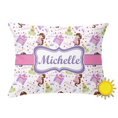 Princess Print Outdoor Throw Pillow (Rectangular) (Personalized)