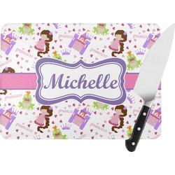 Princess Print Rectangular Glass Cutting Board (Personalized)