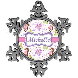 Princess Print Vintage Snowflake Ornament (Personalized)