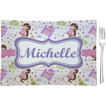 Princess Print Glass Rectangular Appetizer / Dessert Plate - Single or Set (Personalized)
