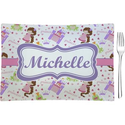 Princess Print Rectangular Glass Appetizer / Dessert Plate - Single or Set (Personalized)
