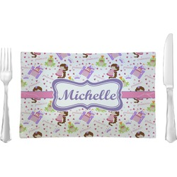 Princess Print Rectangular Glass Lunch / Dinner Plate - Single or Set (Personalized)