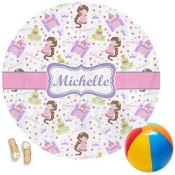 Princess Print Round Beach Towel (Personalized)
