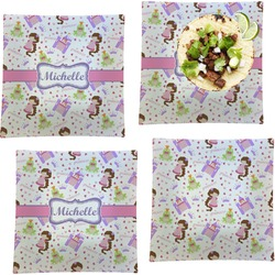 """Princess Print Set of 4 Glass Square Lunch / Dinner Plate 9.5"""" (Personalized)"""