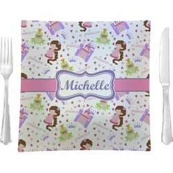 "Princess Print 9.5"" Glass Square Lunch / Dinner Plate- Single or Set of 4 (Personalized)"