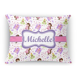 Princess Print Rectangular Throw Pillow Case (Personalized)
