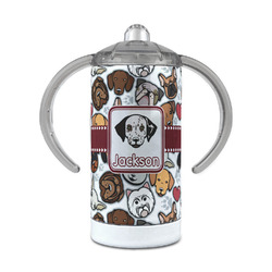 Dog Faces 12 oz Stainless Steel Sippy Cup (Personalized)