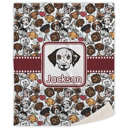 Dog Faces Sherpa Throw Blanket (Personalized)