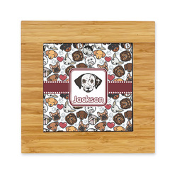 Dog Faces Bamboo Trivet with Ceramic Tile Insert (Personalized)